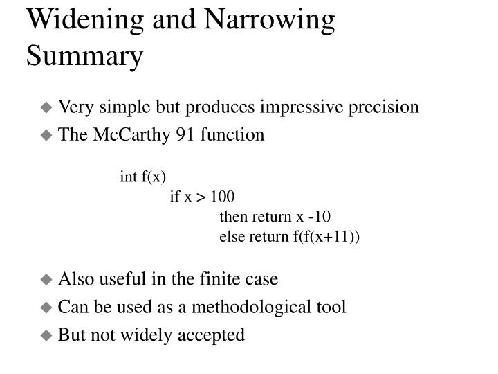 Widening and Narrowing Summary