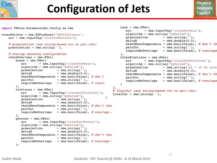 Configuration of Jets
