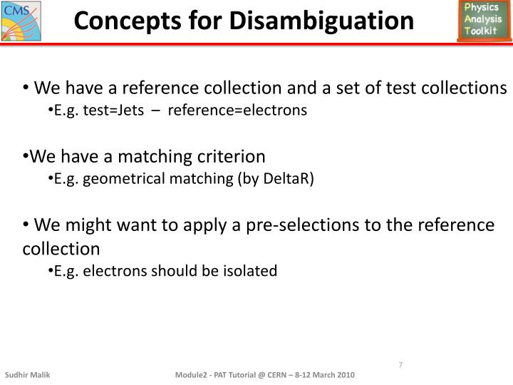 Concepts for Disambiguation