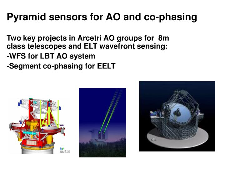 Pyramid sensors for ao and co phasing