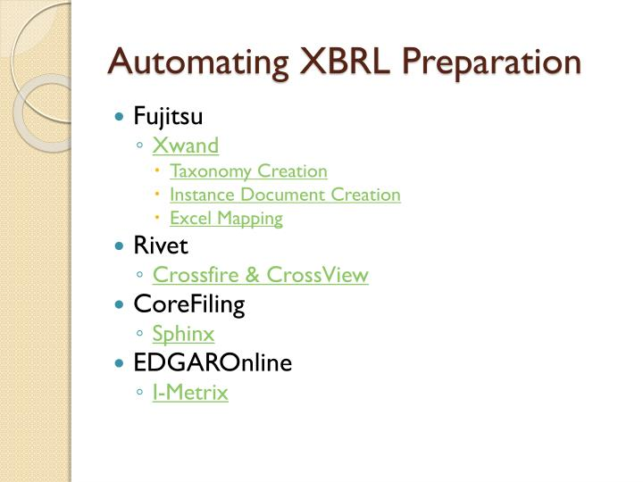Automating XBRL Preparation