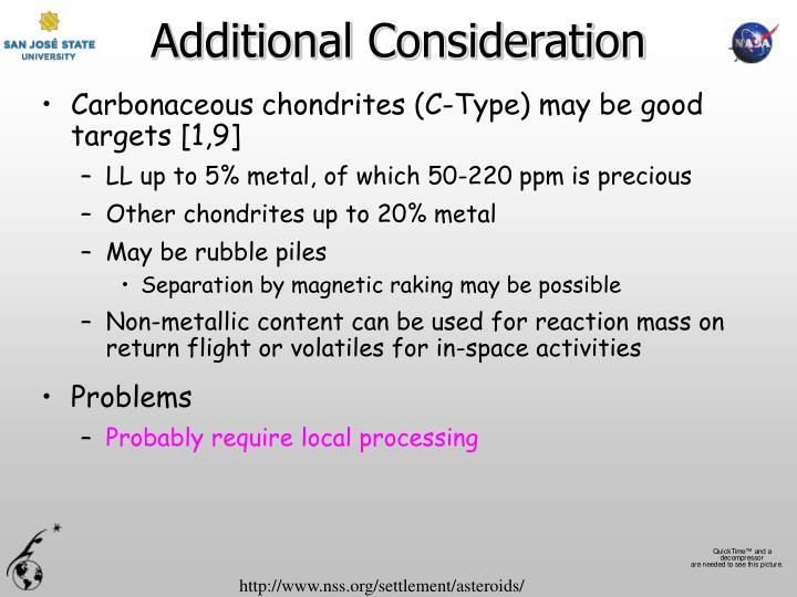 Additional Consideration