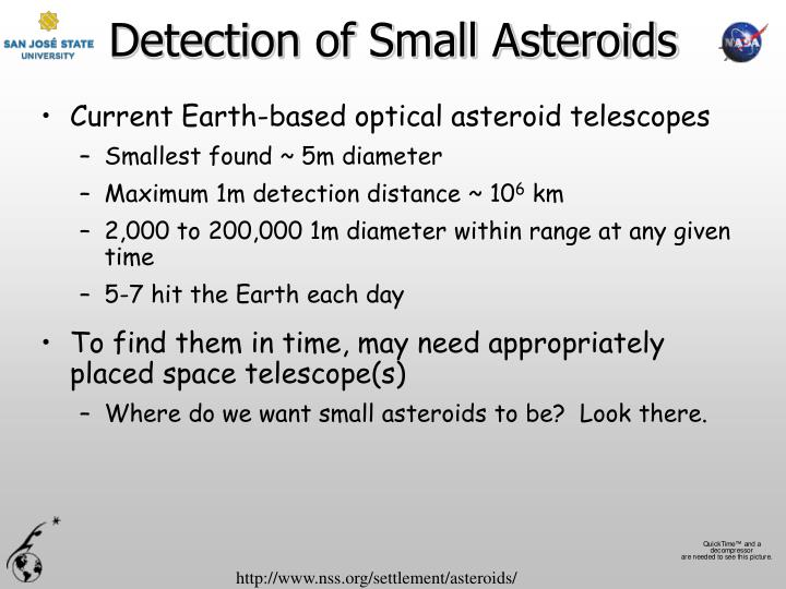 Detection of Small Asteroids