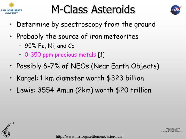 M class asteroids