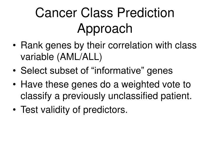 Cancer Class Prediction Approach