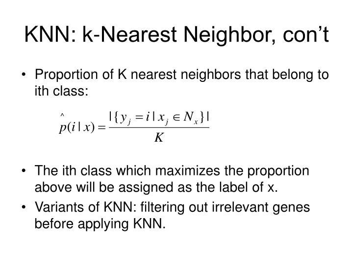 Knn k nearest neighbor con t