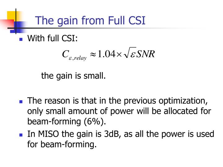 The gain from Full CSI