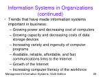 information systems in organizations continued