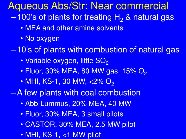 Aqueous Abs/Str: Near commercial
