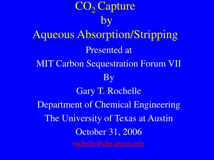 Co 2 capture by aqueous absorption stripping