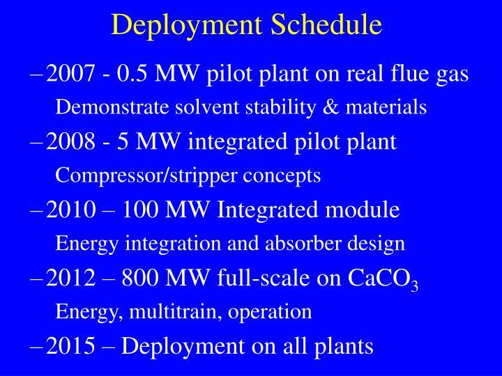 Deployment Schedule
