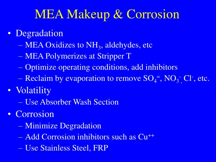 MEA Makeup & Corrosion
