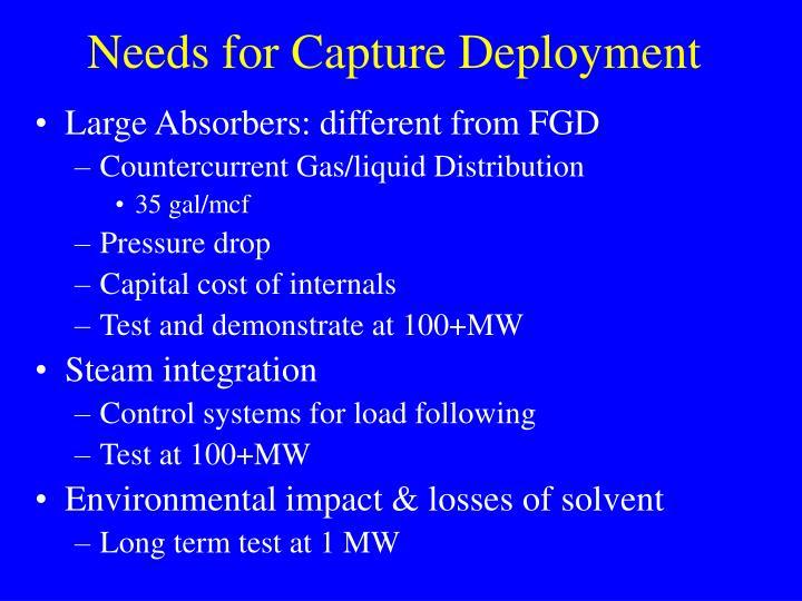 Needs for Capture Deployment