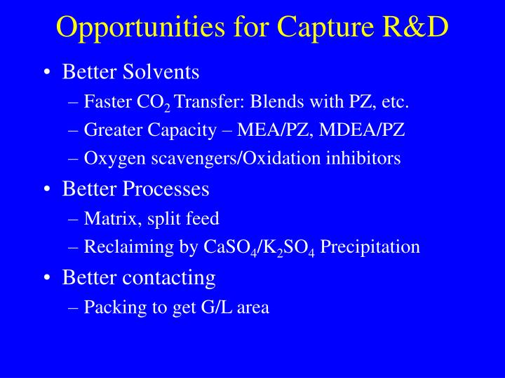 Opportunities for Capture R&D