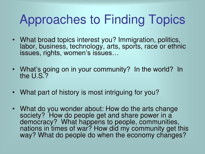 Approaches to Finding Topics