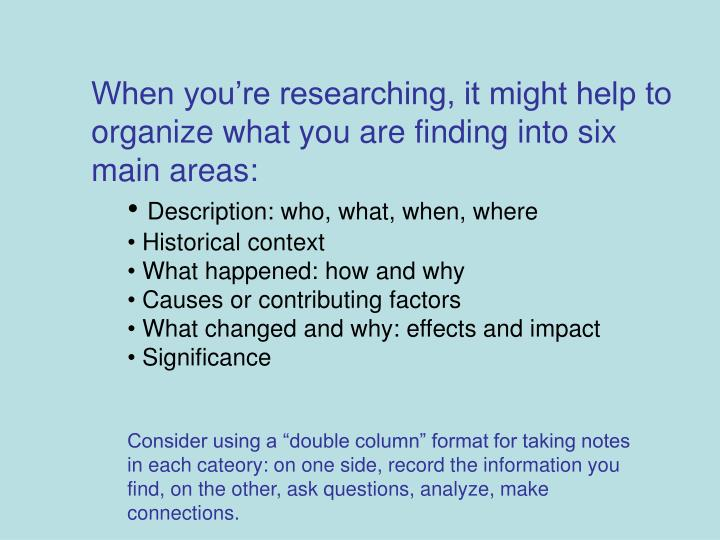When you're researching, it might help to organize what you are finding into six main areas: