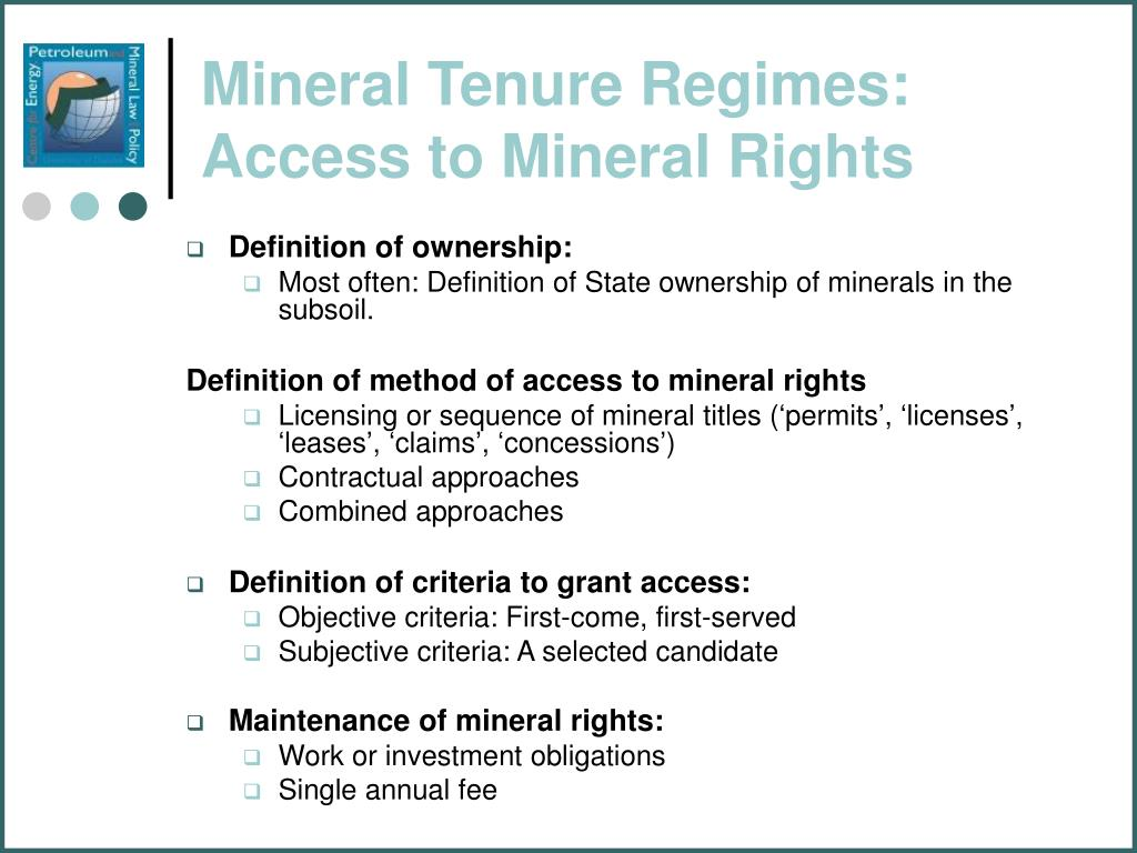 PPT - Principles and Concepts of Mining Law & Policy: Trends