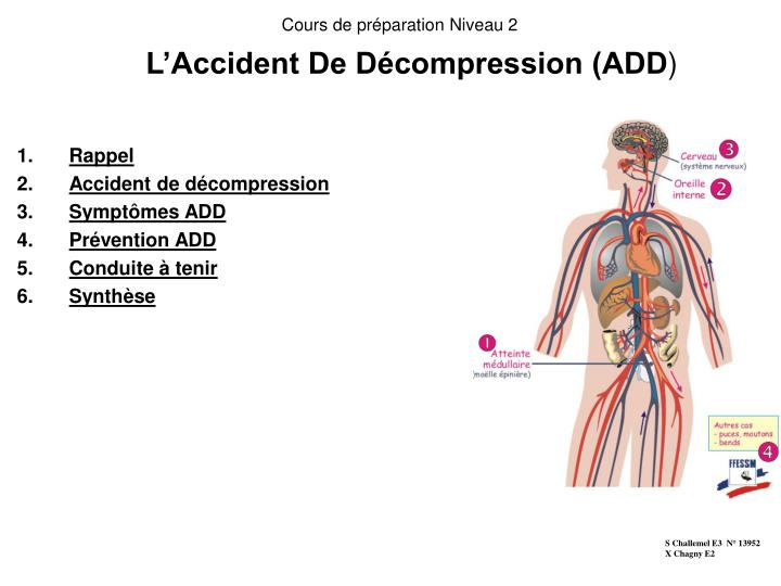 l accident de d compression add n.