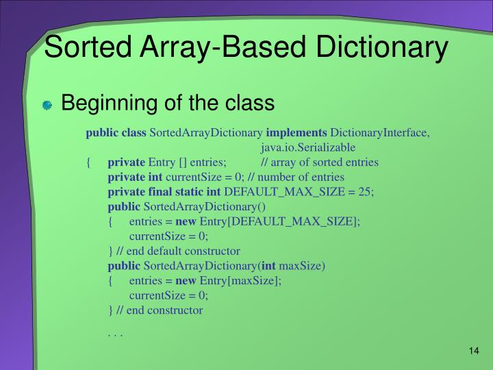 Sorted Array-Based Dictionary