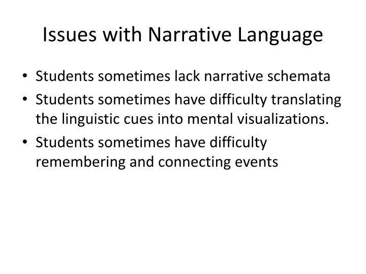 Issues with narrative language