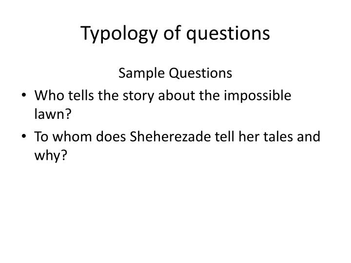 Typology of questions