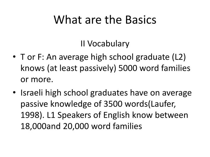 What are the Basics