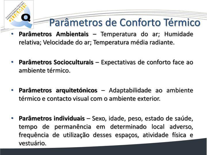 Parâmetros de Conforto Térmico