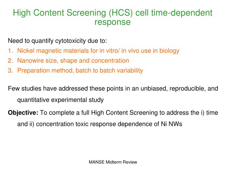 High Content Screening (HCS) cell time-dependent response