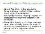 various position based routing algorithms