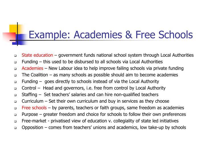 Example: Academies & Free Schools