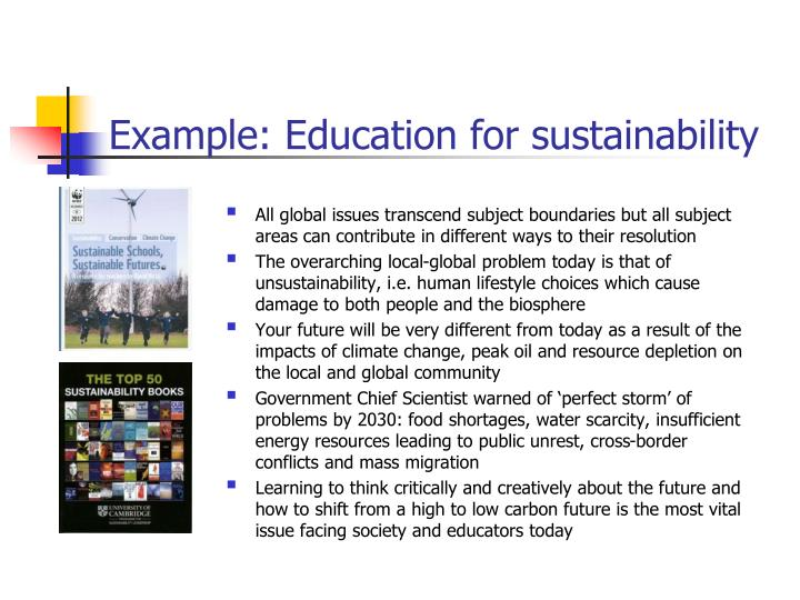 Example: Education for sustainability