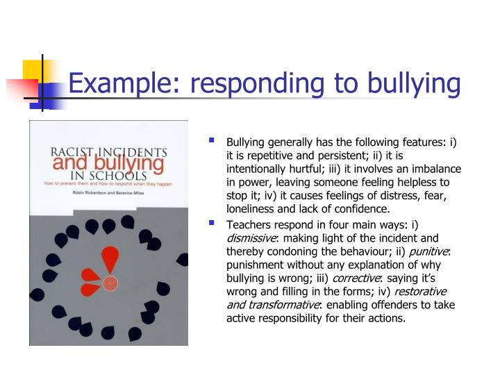 Example: responding to bullying