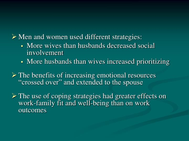 Men and women used different strategies: