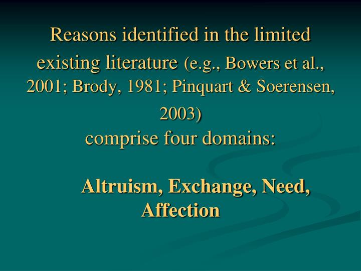 Reasons identified in the limited existing literature