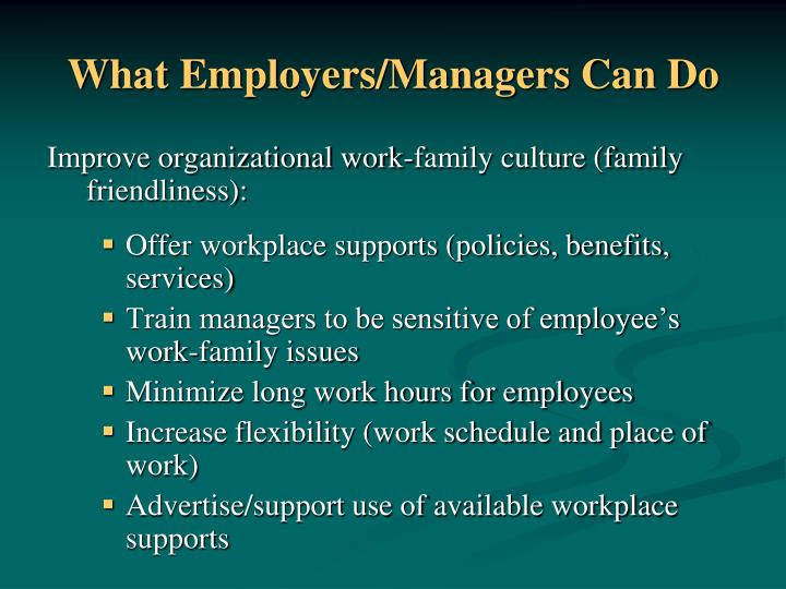 What Employers/Managers Can Do