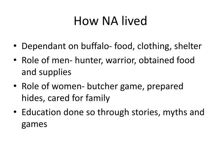 How NA lived