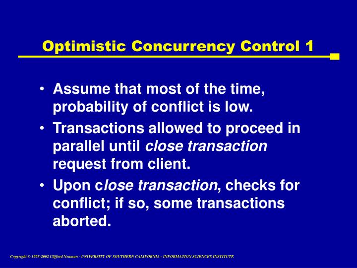 Optimistic Concurrency Control 1