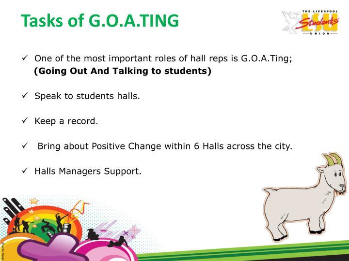 Tasks of G.O.A.TING