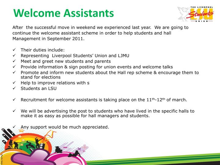 Welcome Assistants