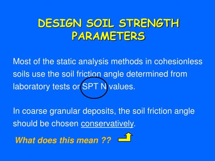 DESIGN SOIL STRENGTH PARAMETERS