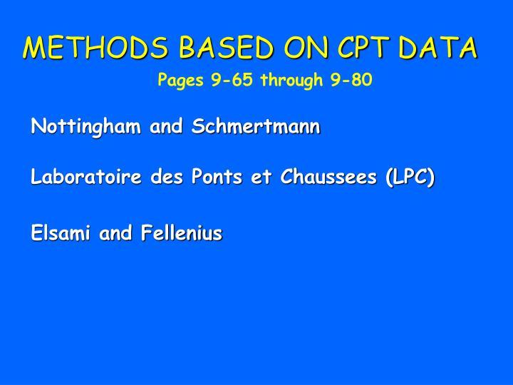 METHODS BASED ON CPT DATA