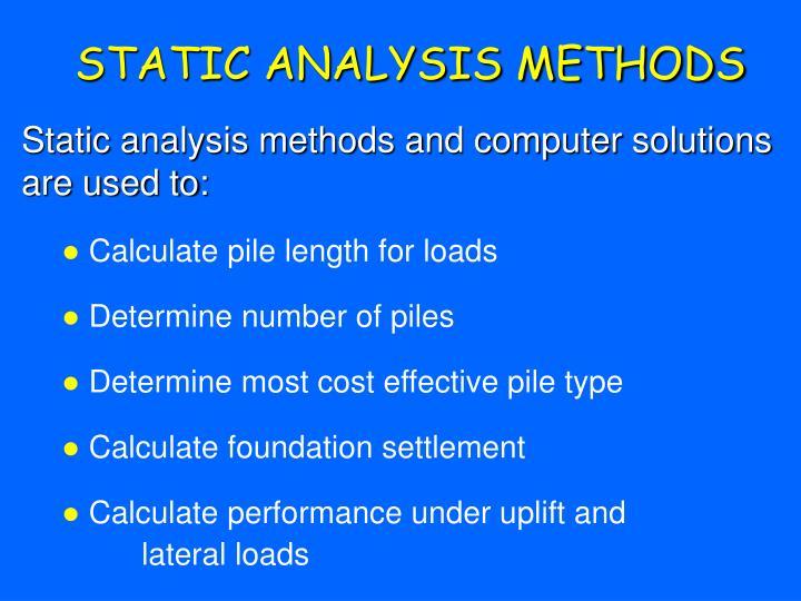 Static analysis methods