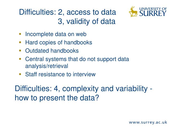 Incomplete data on web