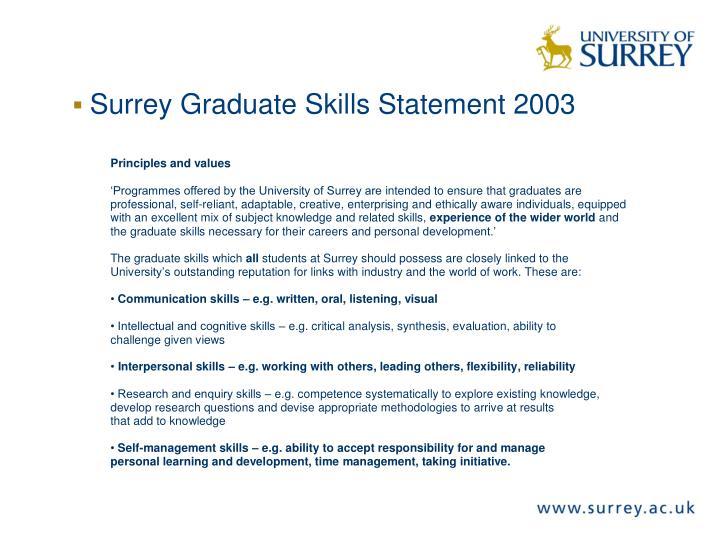 Surrey Graduate Skills Statement 2003