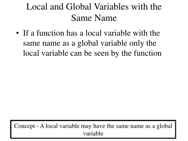 Local and Global Variables with the Same Name