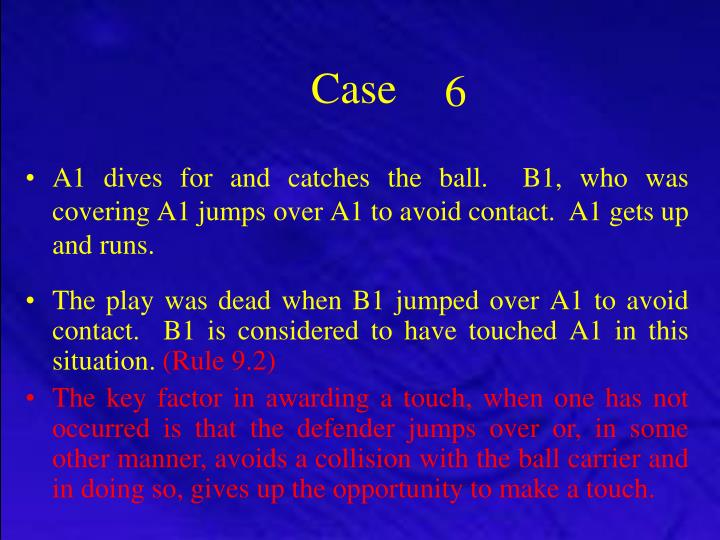 A1 dives for and catches the ball.  B1, who was covering A1 jumps over A1 to avoid contact.  A1 gets up and runs.