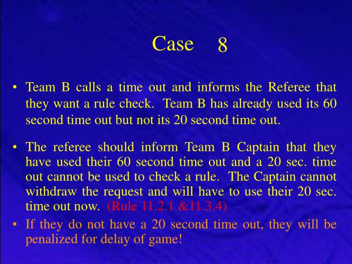 Team B calls a time out and informs the Referee that they want a rule check.  Team B has already used its 60 second time out but not its 20 second time out.