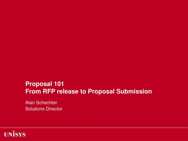 proposal 101 from rfp release to proposal submission n.