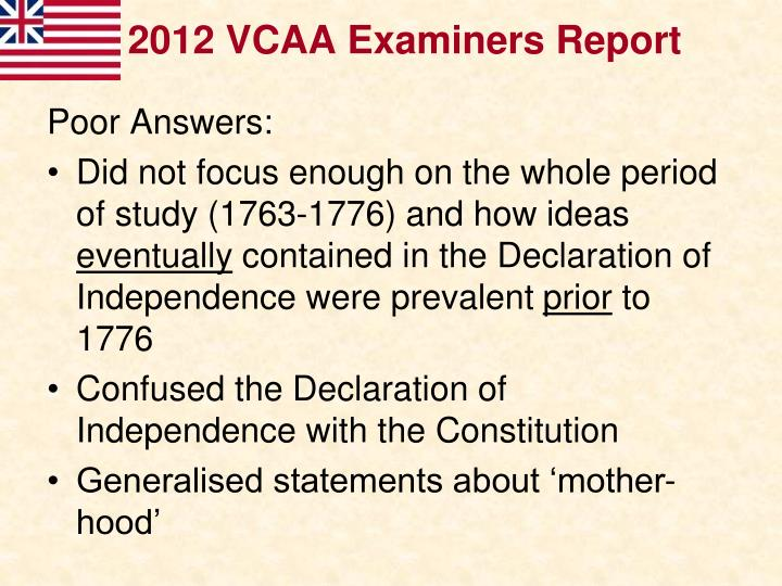 2012 VCAA Examiners Report