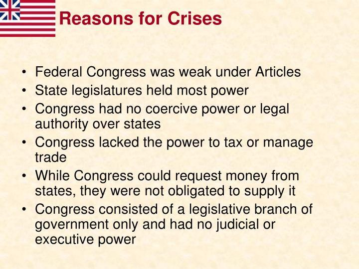 Reasons for Crises